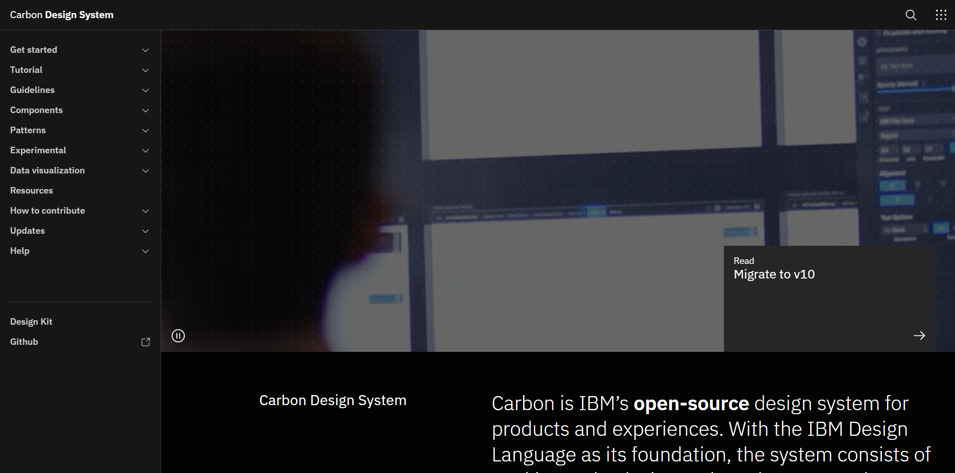 Carbon Design System landing page