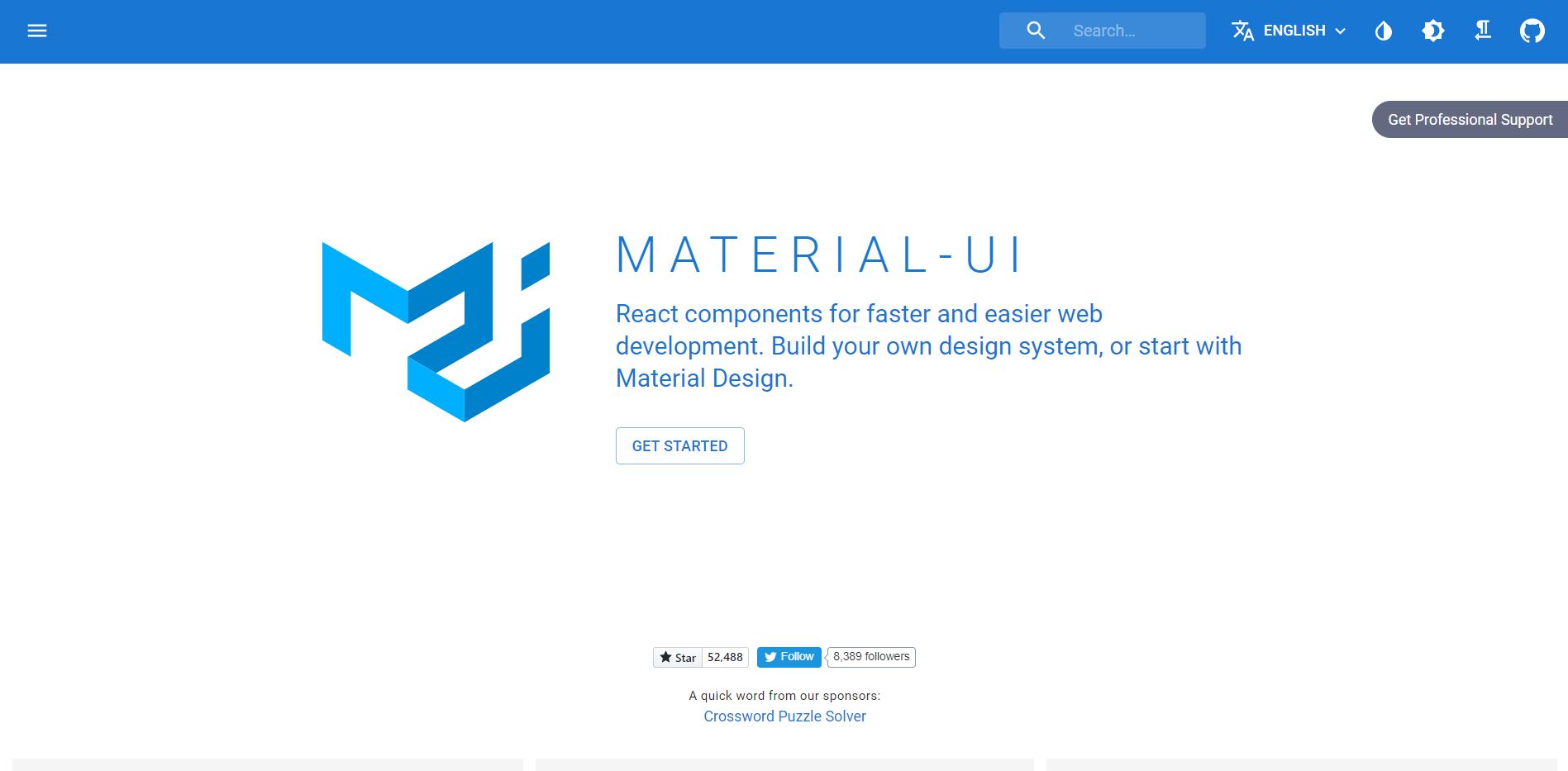 Material UI landing page