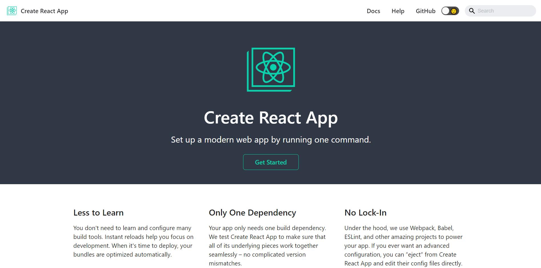 Create React App landing page