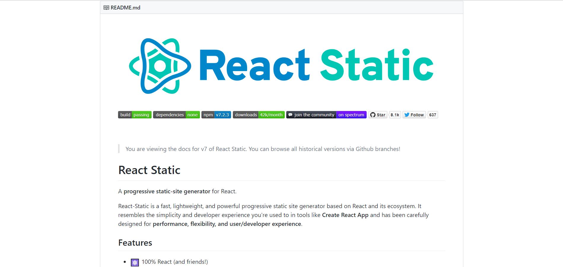 React Static GitHub repo