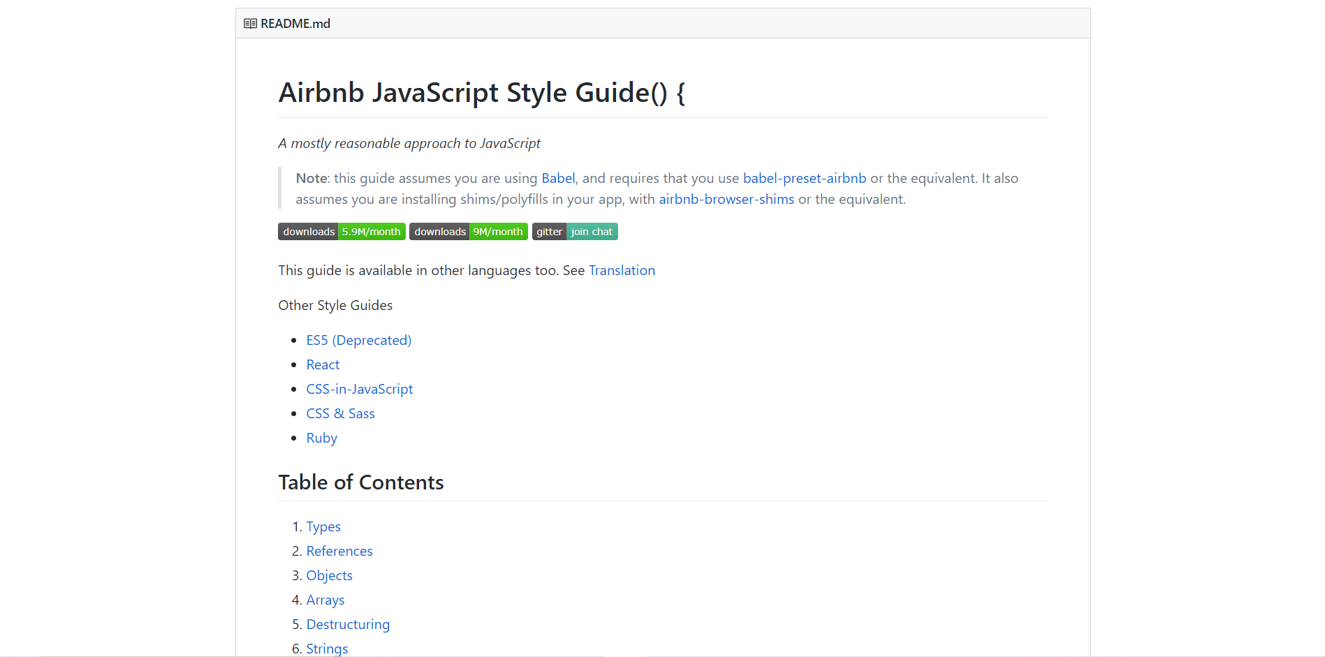 Airbnb JS style guide README