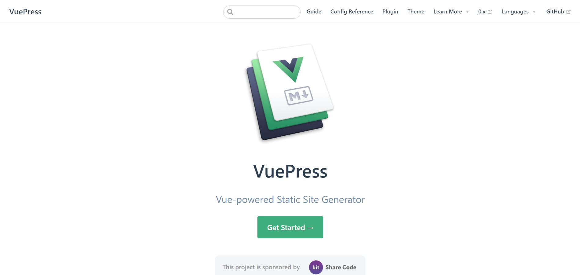 VuePress landing page