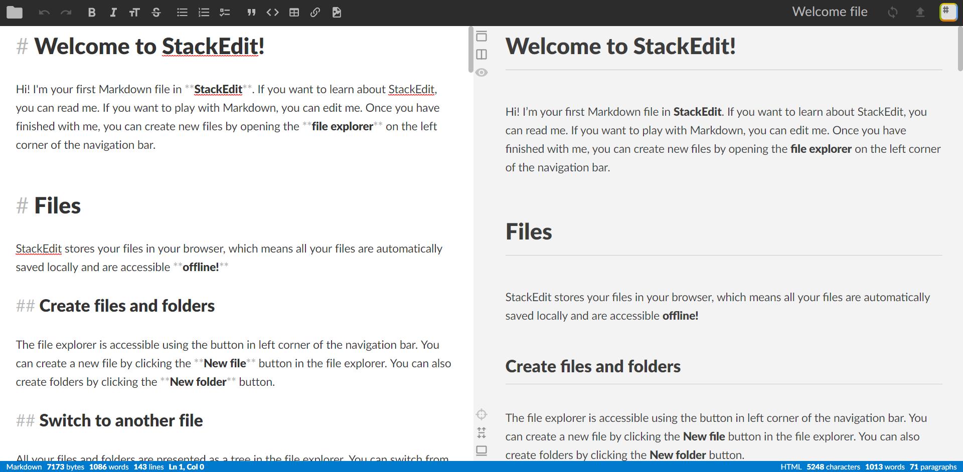 StackEdit editor