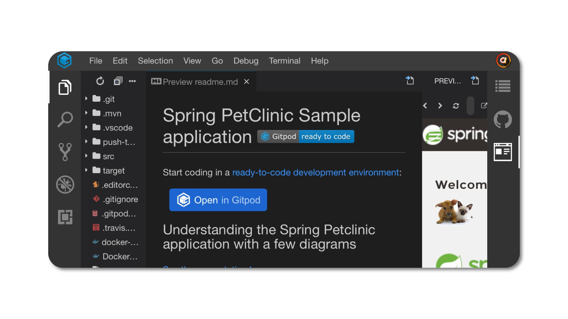 GitPod on mobile Safari in landscape