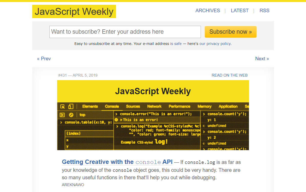 JavaScript Weekly newsletter