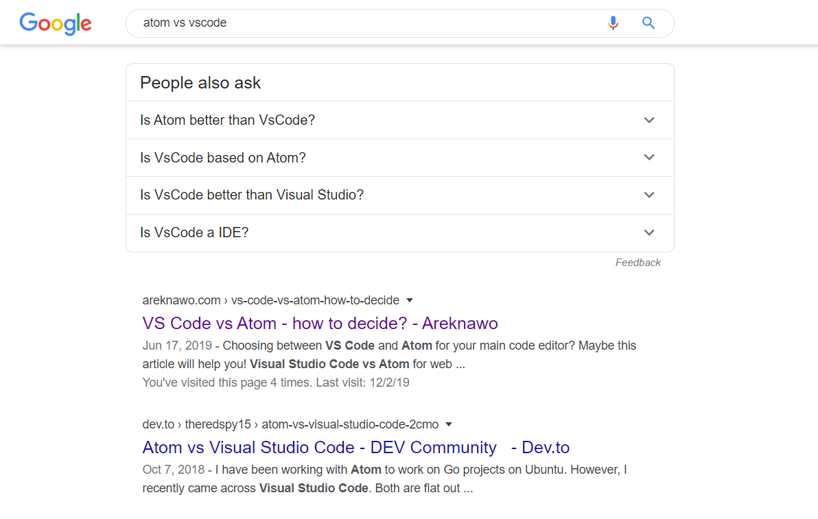 "Search results for ""atom vs vscode"""