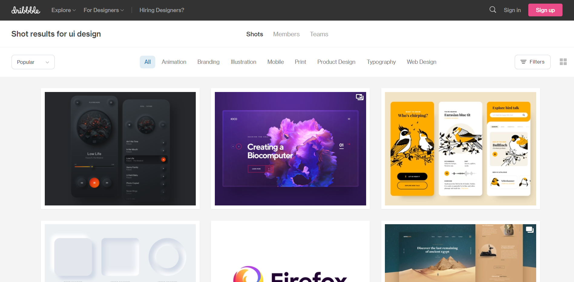 Dribbble website