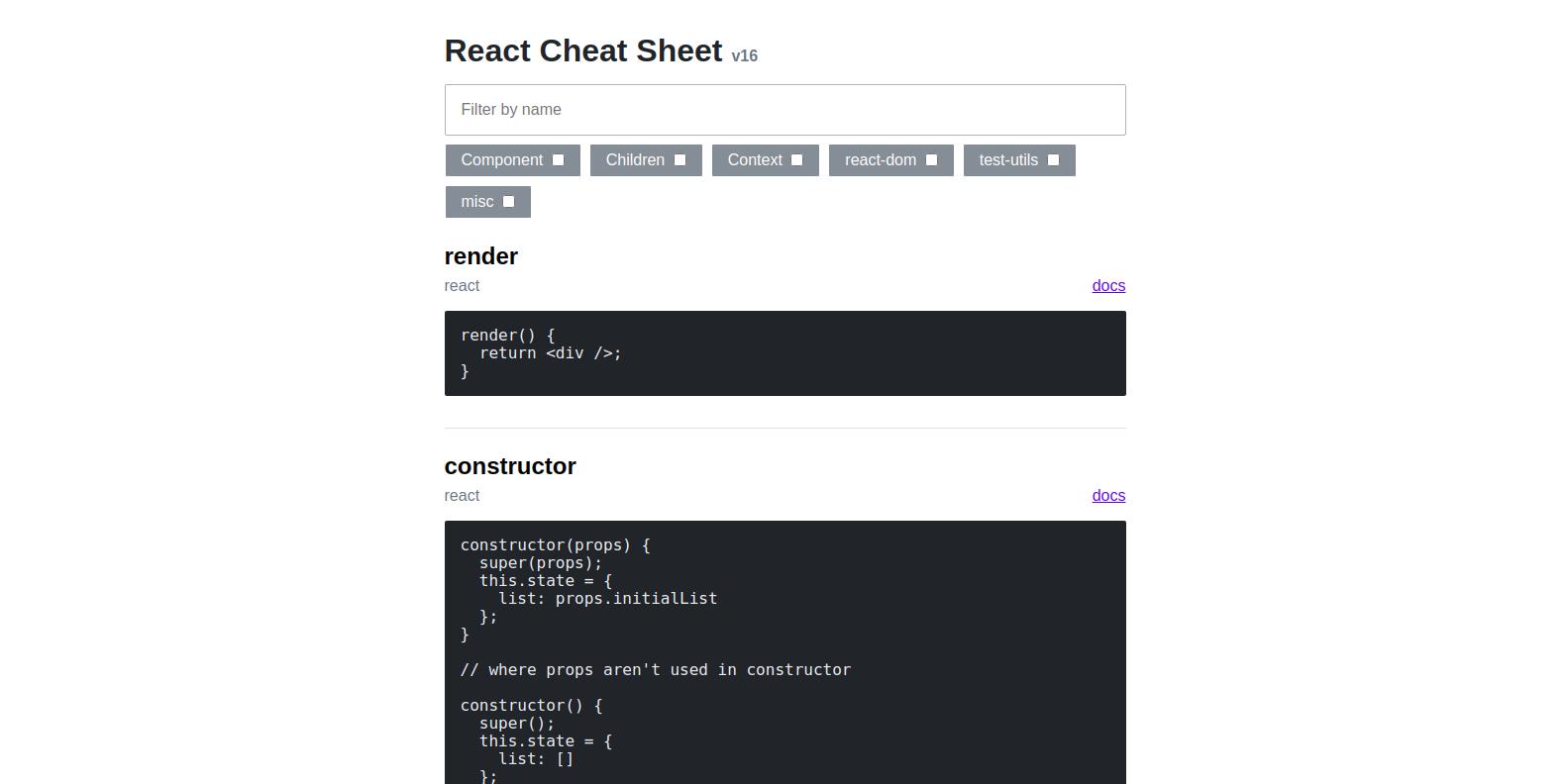 React Cheat Sheet