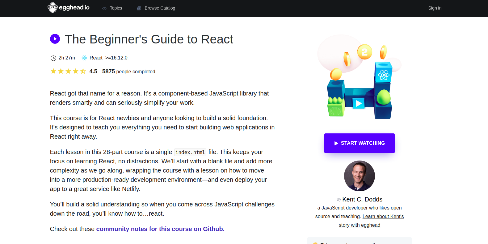 The Beginner's Guide to React intro page