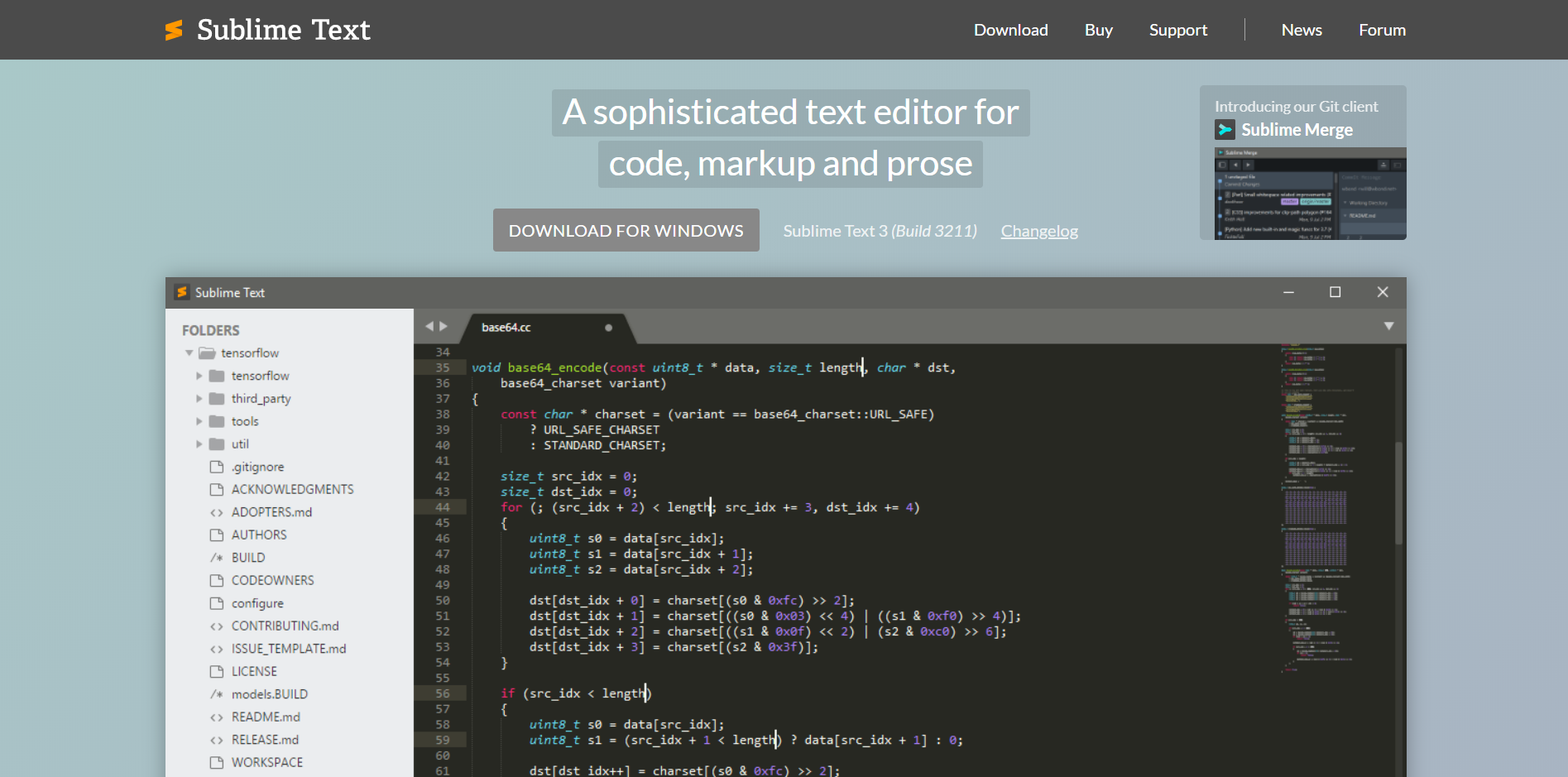 Sublime Text landing page