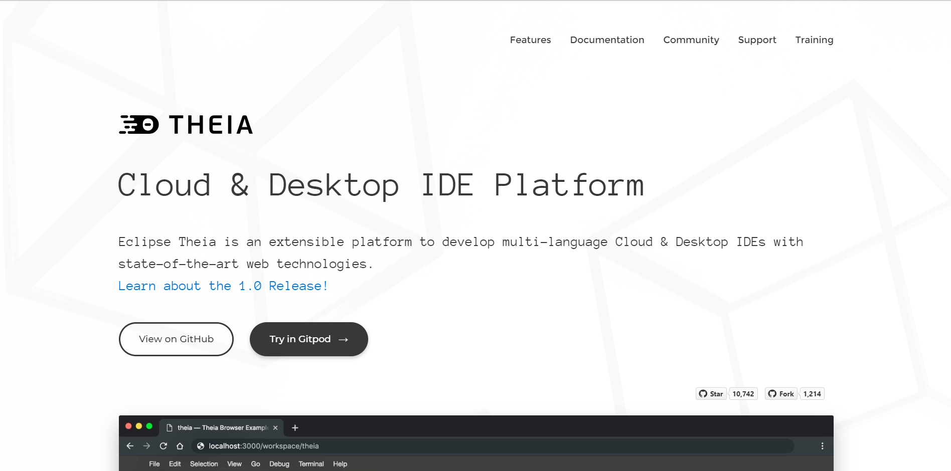 Theia landing page
