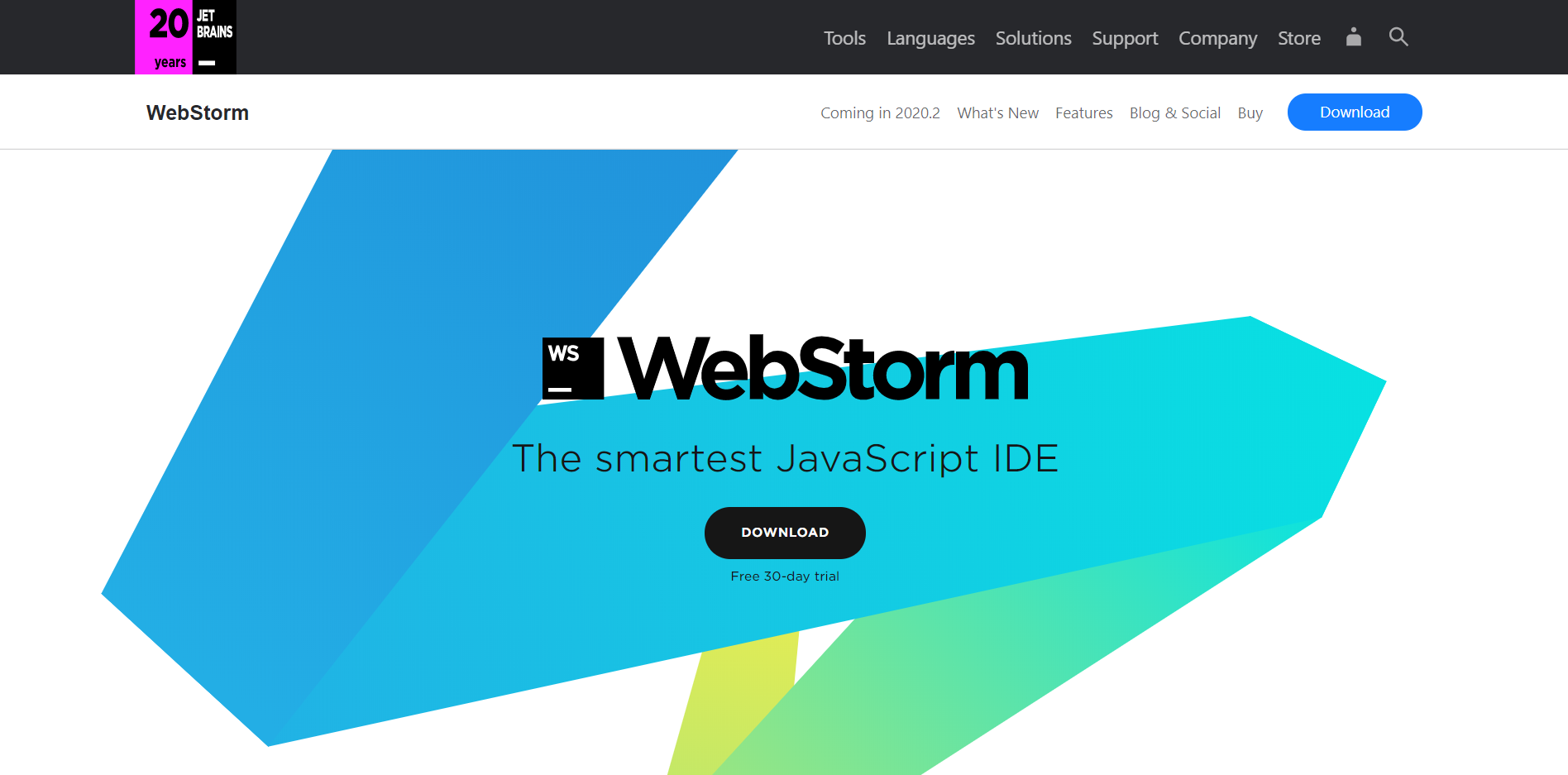 WebStorm landing page