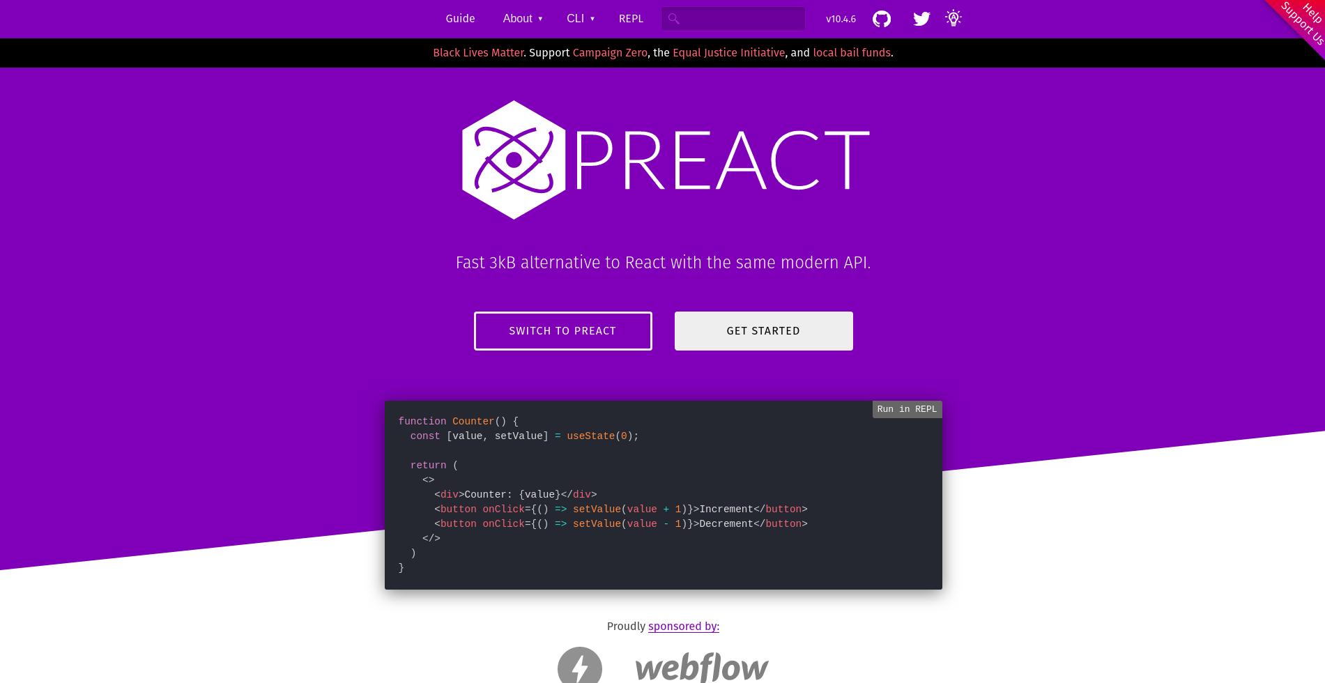 Preact landing page