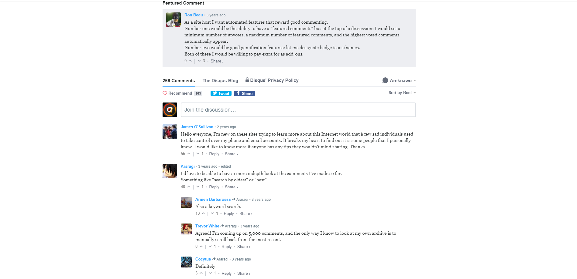 Example Disqus comment section