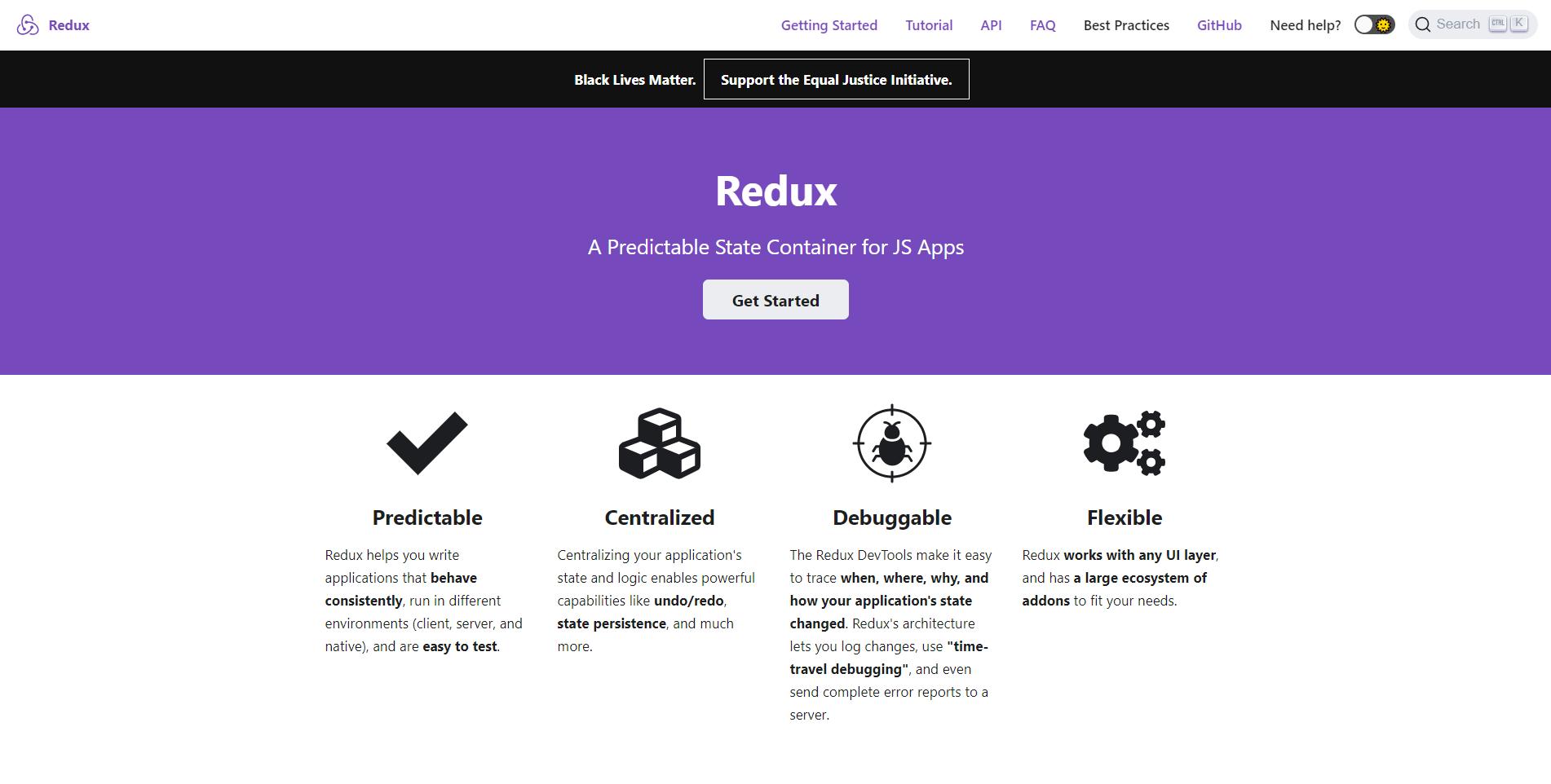 Redux landing page