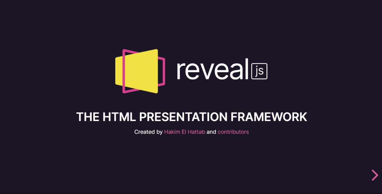 Reveal.js landing page