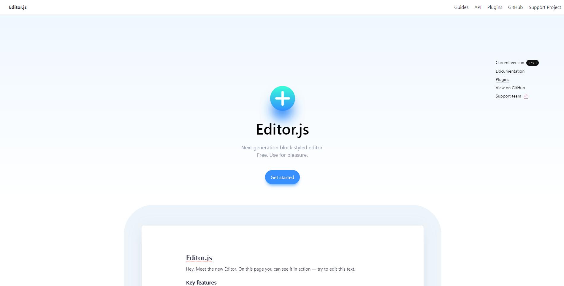 Editor.js landing page