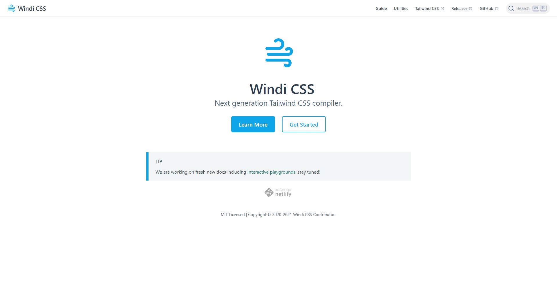 Windi CSS landing page