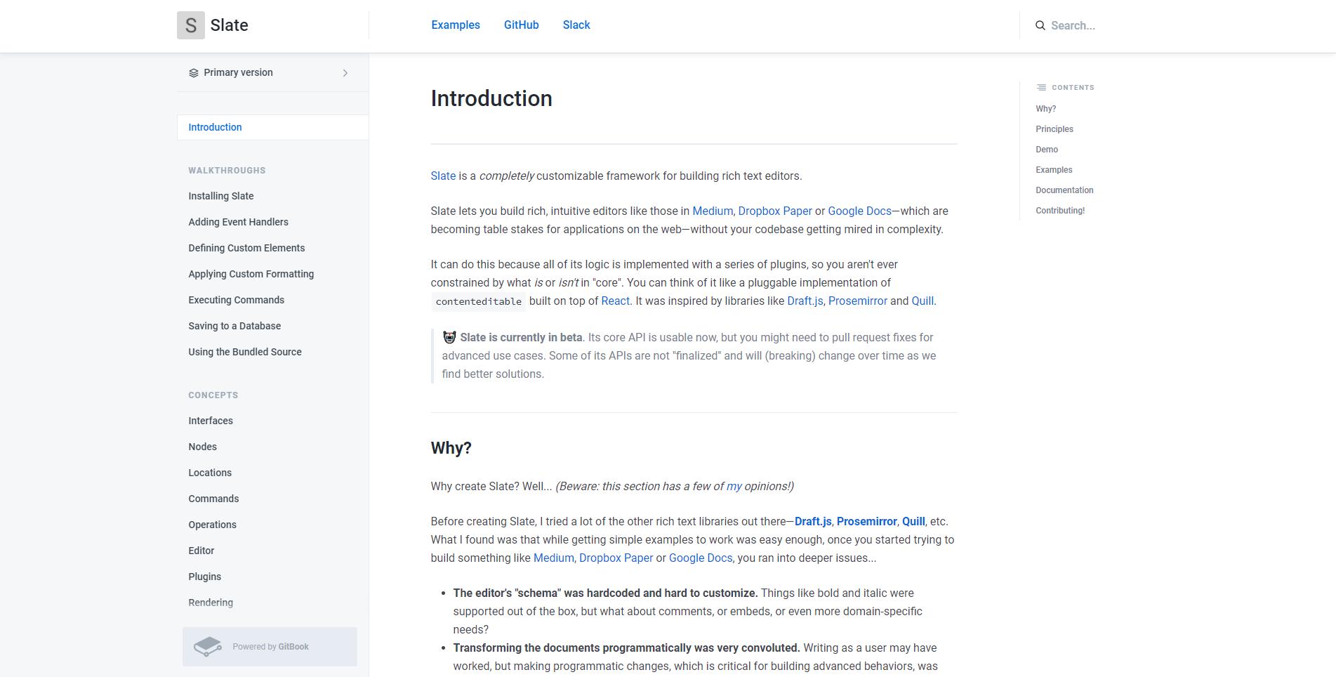 Slate documentation