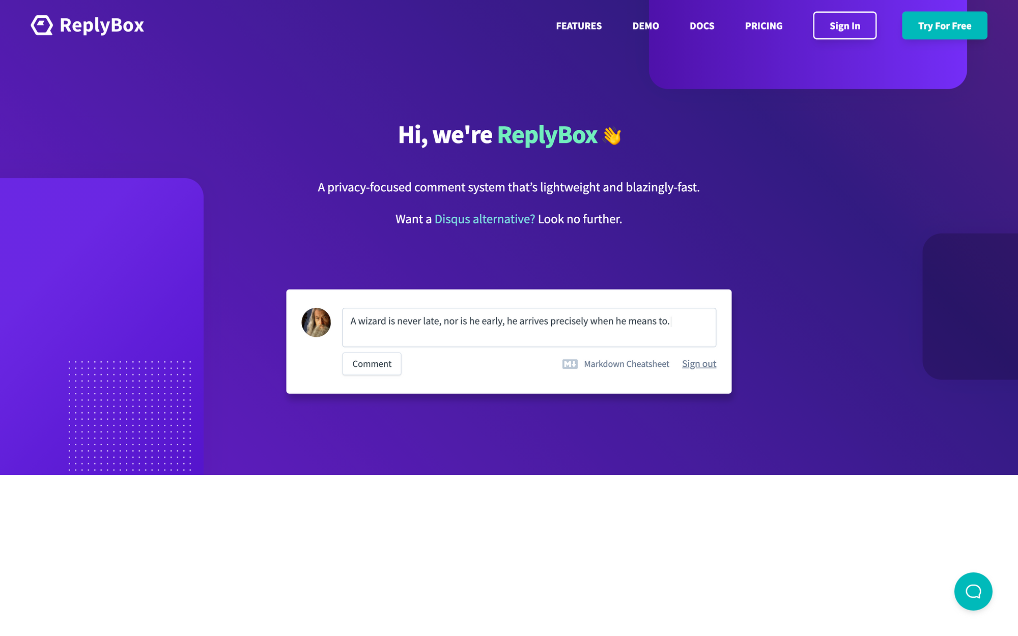 ReplyBox landing page